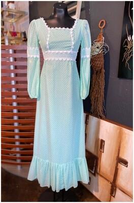 Vintage Long Sleeve Mint Green Prairie Dress
