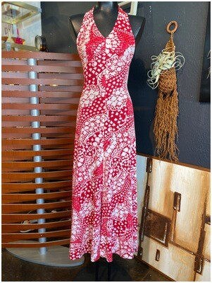 Vintage Paisley Red & White Halter Dress