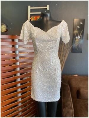 Modern White Sequin Wiggle Dress