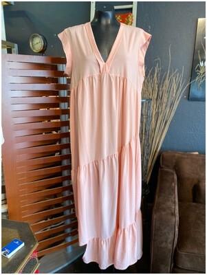 Modern Blush Rose Ruffled Asymmetrical Dress