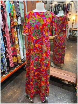 Vintage Psychedelic Floral Maxi Dress with White Lace Trim Sleeves