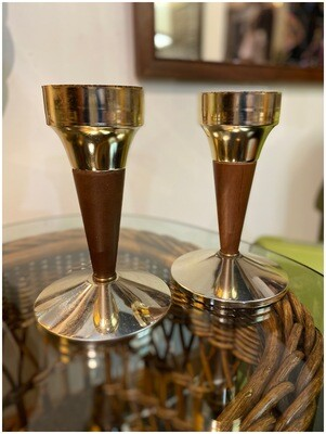 Mid Century Pair of Goldtone Candle Holders