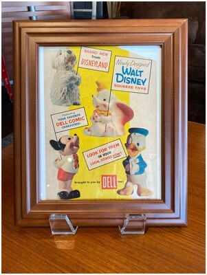 1950's Framed Walt Disney Squeeze Toy Ad