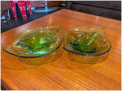 Vintage Divided Glass Bowls, Set of Two