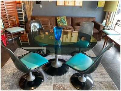 Mid Century Modern 1970's Chromecraft Smoked Glass & Lucite Oval Tulip Dining Table & 4 Chairs