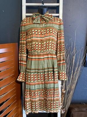 Vintage 1970's Autumn Bow Tie Dress