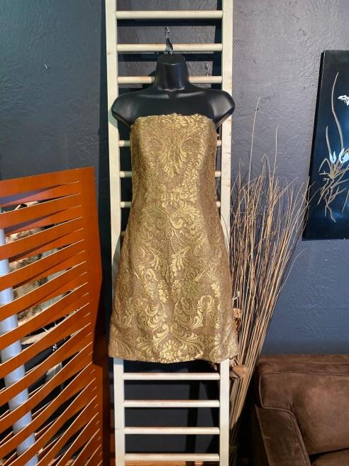 Vintage 1980's Victor Costa Strapless Gold Dress