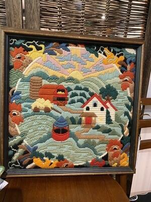 Vintage Woven Wall Art of Farm Scene