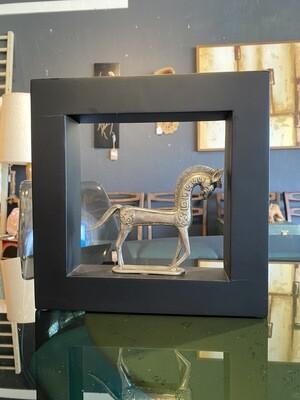 Pewter Trojan Horse in Frame