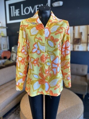 Vintage Zipper Front Tropical Flower Shirt