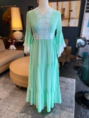 Vintage 1960's Penny Barker Lace Trimmed Prairie Dress