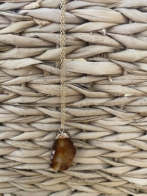 Modern Hand Crafted Gold Plated Quartz Necklace