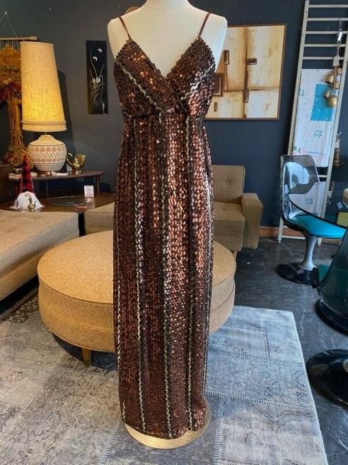 Vintage Copper Tones Sequin Dress