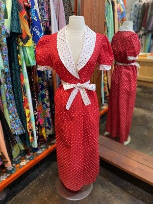 Vintage Red & White Reverse Polka Dot Dress