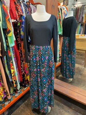 Vintage Dress with Black Top and Printed Skirt