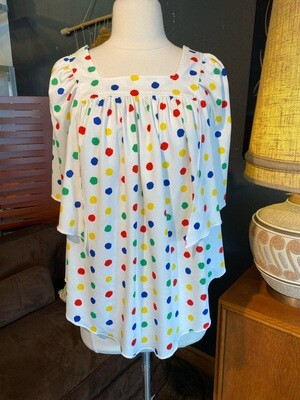 Vintage Primary Color Dot Top