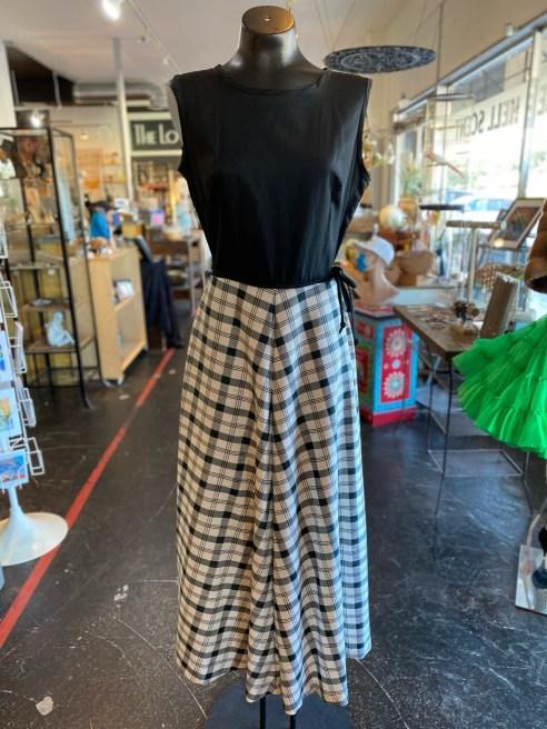 Vintage 1960's Belted Gingham Maxi Dress