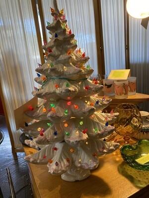 "Vintage 1970's Large Ceramic White Christmas Tree 26"""
