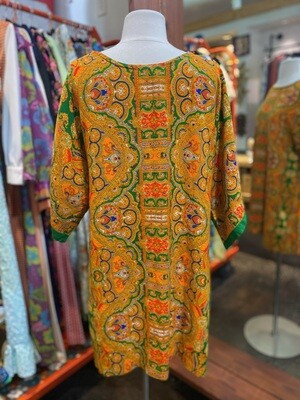 Vintage 1960's Barkcloth Mini Dress