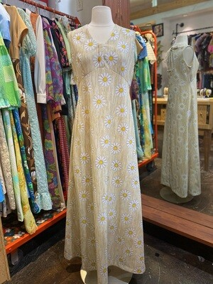 Vintage Daisy Maxi with Open Tie Back