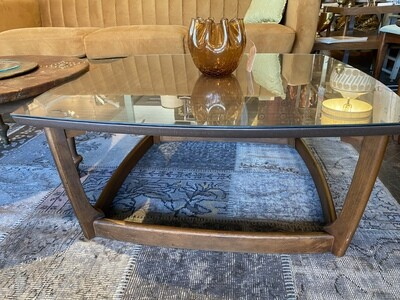 Mid Century Coffee Table with Protective Glass