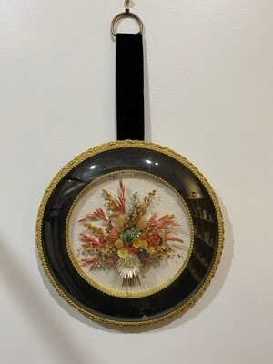 Vintage 1970's Cideart Belgium Dried Flower Wall Art in Domed Glass