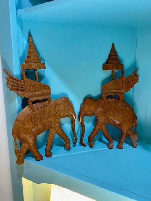 Vintage Pair of Wood Elephant Wall Decor