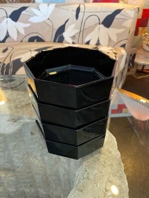 Geometric French Glass Bowls, Set of Four