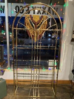 Mid Century Modern Gold Chrome & Glass Shelve Etagere