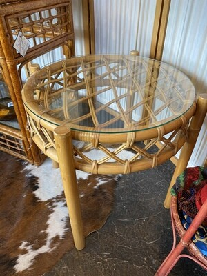 Vintage Boho Rattan Glass Top End Table