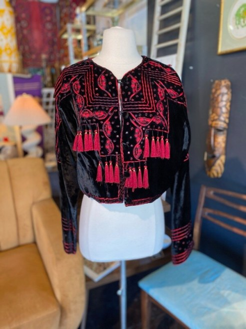 Modern Scott Taylor Velour Bolero Jacket with Red Embroidery