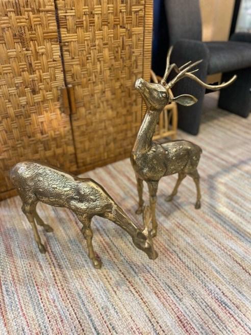 Large Vintage Solid Brass Set of Deer