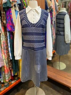 Vintage Blue & White Collard Dress