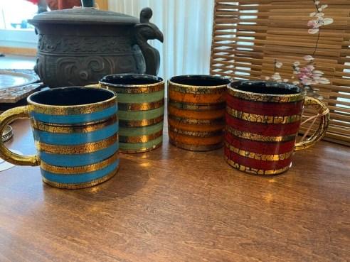 Mid Century Modern Italian Pottery Mug Set
