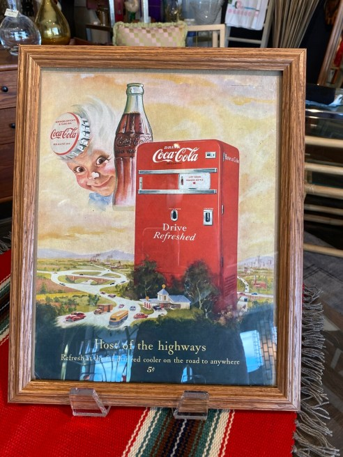 Vintage 1950's Coca Cola Host of the Highways Framed Ad