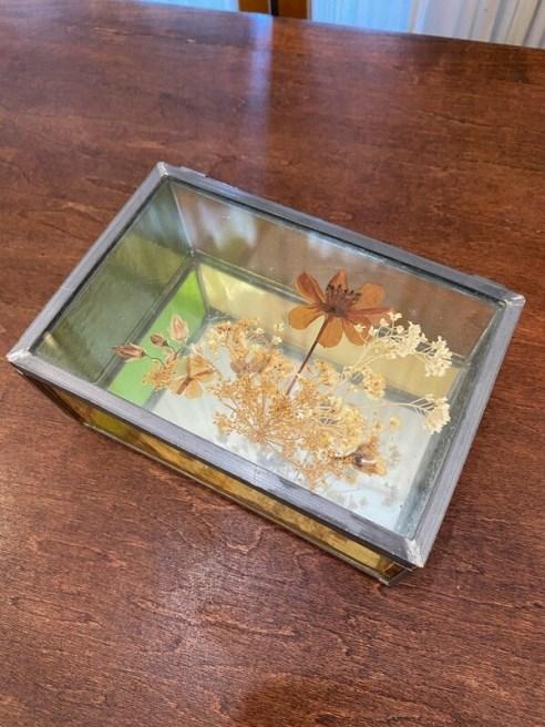 Vintage Pressed Flower Glass Box