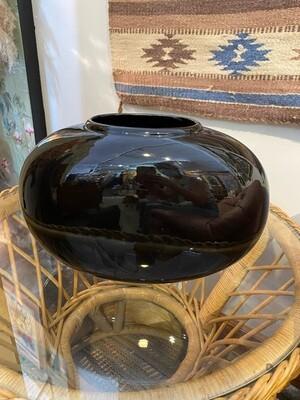 Vintage 1980's Haeger Black Oval Vase
