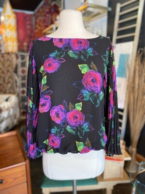Modern Black Flowered Bat Wing Pleated Shirt