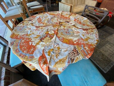 Vintage 1970's Handmade Flower Power Table Cloth with Tassels