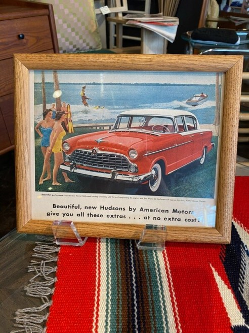 Vintage Hudson Car Framed Ad Featuring Cypress Gardens