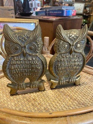 Vintage Brass Owl Bookends