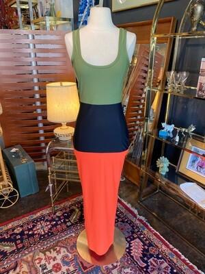 Modern Stretch Color Block Pencil Dress