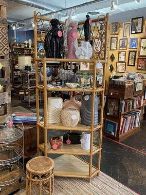 Vintage Rattan Bamboo Corner Shelf