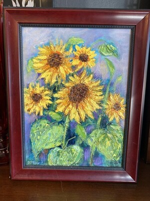 Original Impasto Sunflower Framed & Signed Painting