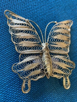 Vintage Gold Filled Filagree Butterfly Brooch