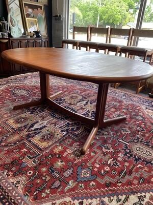 Mid Century Modern Danish Oval Teak Dining Table with Extendable Leaf