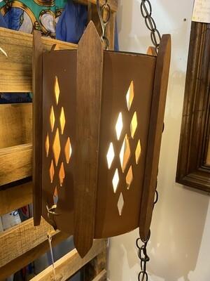 Mid Century Modern Walnut Hanging Swag Lamp