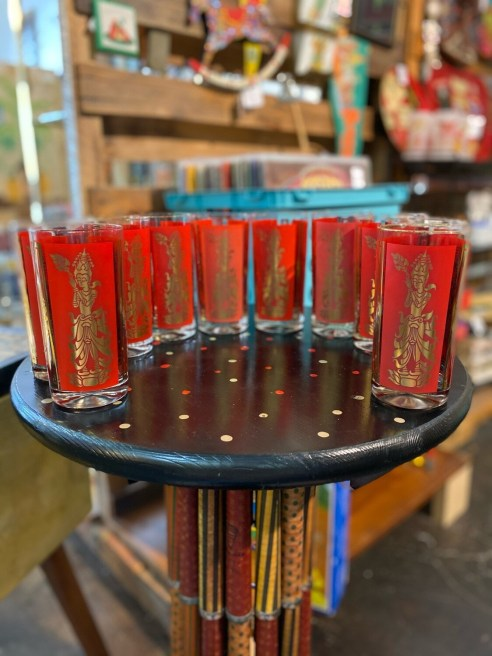Mid Century Modern 1960's Red & Gold Thai Goddess Highball Glass Set