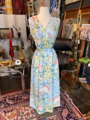 Vintage Leslie Faye Floral & Cranes Maxi
