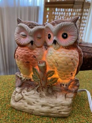 Vintage Double Owl Lamp
